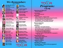 Atlanta TDOR Program, honoring the U.S. dead