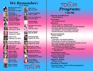 Atlanta TDOR Program, honoring the U.S. dead